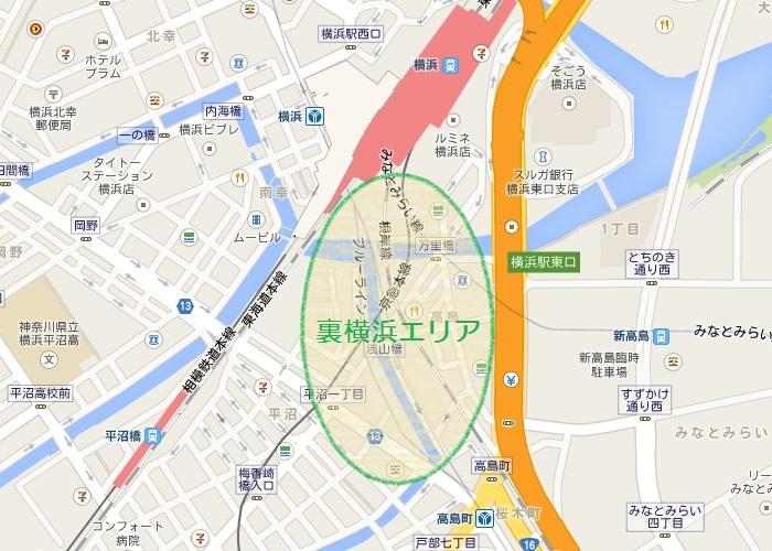 裏横浜エリア地図